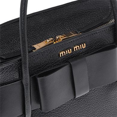 f3fcb4764e2 ... Madras Leather Handbag with Bow MiuMiu BLACK ...