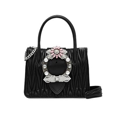 Miu Lady matelassé leather handbag