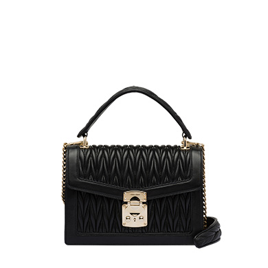 7dd2df77bbe Miu Miu Confidential Matelasse Quilted Lambskin Leather Top Handle Bag -  Black