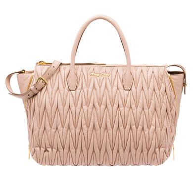 Leather Miu Avenue Travel Bag Miumiu Cameo Beige