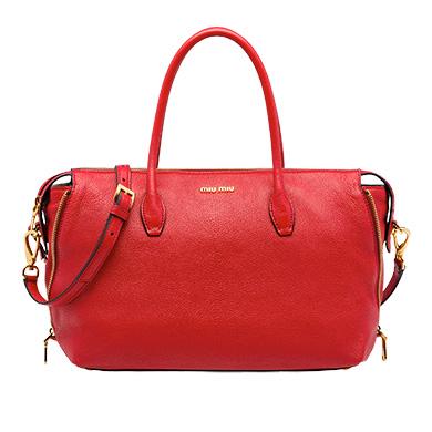 Shop Miu Miu Madras Leather Avenue Travel Bag In Fire Engine Red ... 62147f25f0cf6