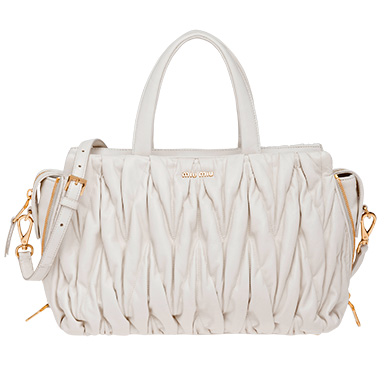 Miu Miu Leather Avenue Travel Bag In White  5b055b569342a