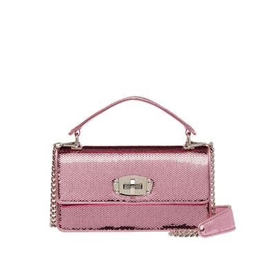 Sequin Scaled Mini Shoulder Bag in Pink