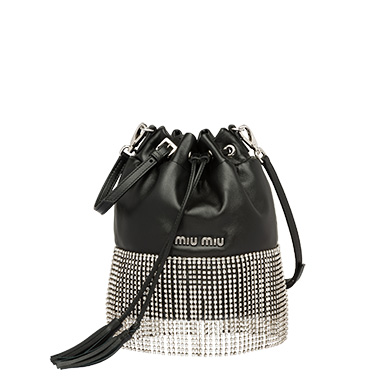 Leather Bucket Bag With Crystals in Black