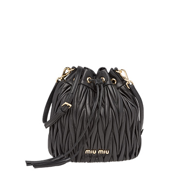 ... Matelassé leather bucket bag MiuMiu BLACK ... 937f785caf35