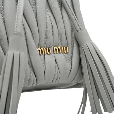 14a3b89810 ... Matelassé Leather Bag MiuMiu GRANITE GRAY ...
