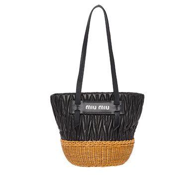 MIU MIU Nappa Leather And Wicker Bucket Bag ed539788773a2