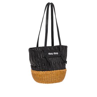 bf9ac24c58d MIU MIU Nappa Leather And Wicker Bucket Bag
