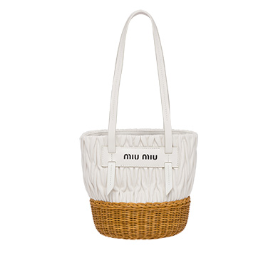 Miu Miu Nappa Leather And Wicker Bucket Bag In White  5e2ce3ad1d53c