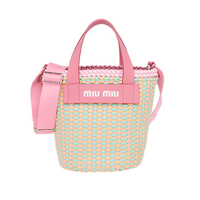 Leather-trimmed Faux Leather Woven Tote - Pink Miu Miu bFaAeT