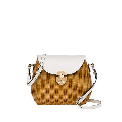 9a6001f86cc Miu Miu Wicker And Leather Shoulder Bag In Honey White