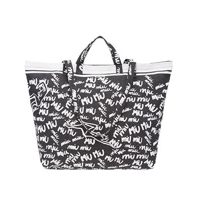 3aba0326e2b8 Shop Miu Miu Denim Tote In Black White With Logo Print