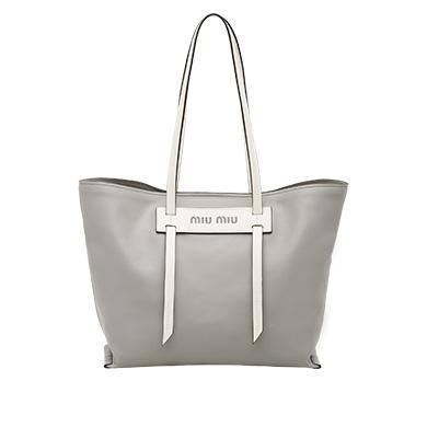 25a4f73a54e9 ... Grace Lux leather tote MiuMiu CLOUDY GRAY+WHITE ...