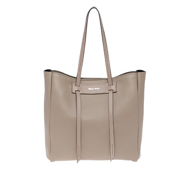 Pebbled Leather Shopper - Grey, Clay/ Black
