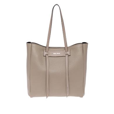 MIU MIU Pebbled Leather Shopper - Grey, Clay/ Black