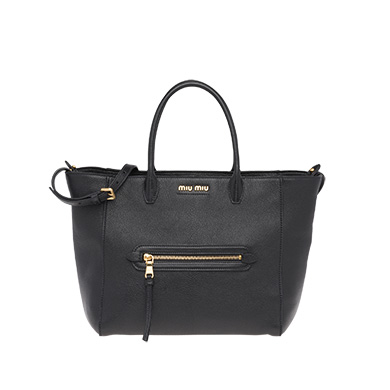 60fe93e635f Miu Miu Madras Large Goatskin Leather Tote Bag In Black