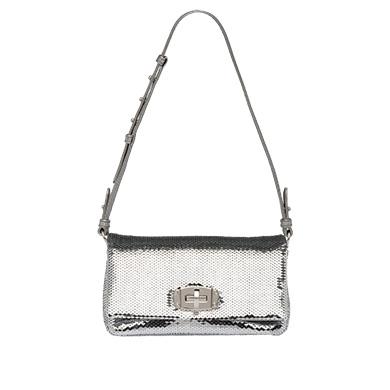 991f8e9c39 Miu Miu Sequin Shoulder Bag In Silver