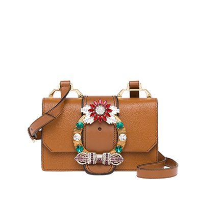 Miu Lady Madras Leather Shoulder Bag in Brown