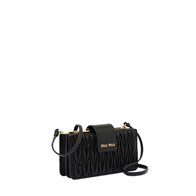 9deee1875d75 Matelassé leather mini-bag MiuMiu BLACK ...