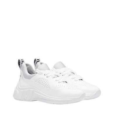 Miu Run Patent Leather Sneakers in White