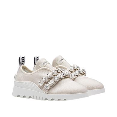 Miu Run Sneakers With Crystals in Metallic