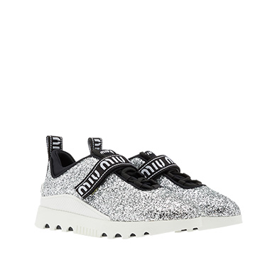Logo-Embroidered Glittered Neoprene And Rubber Sneakers, Silver