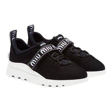 Logo-Strap Tech-Knit Platform Sneakers, Black