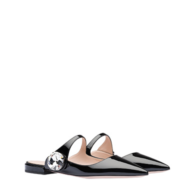 c1c0a877b738 ... Patent leather mules with crystal MiuMiu BLACK ...