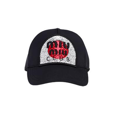 945f0e3d6e2 Neoprene baseball cap MiuMiu BLACK SILVER ...