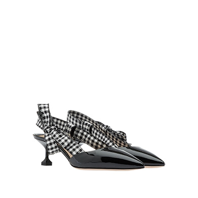 Patent-Leather And Gingham Canvas Slingback Pumps in Black