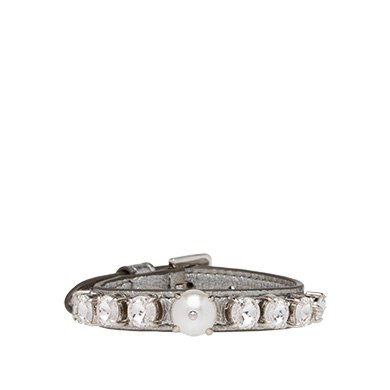 Miu Miu  Madras Leather Bracelet with Pearls