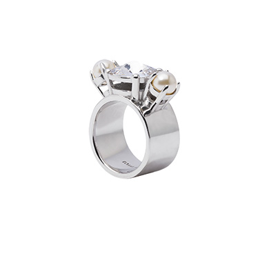 Miu Miu Ring With Pearls And Crystals, Cream/Cristal