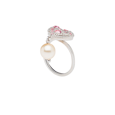 Miu Miu  Silver Heart Ring with Pearl