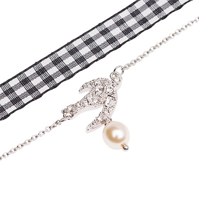 MIU MIU SILVER BRACELET WITH RIBBON AND PEARL, CREAM+CRISTAL