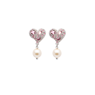 SILVER EARRINGS WITH PEARLS AND CRYSTALS