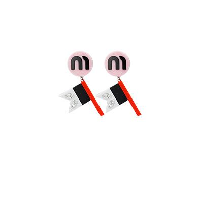 Plexiglas Earrings With Crystals in Pink