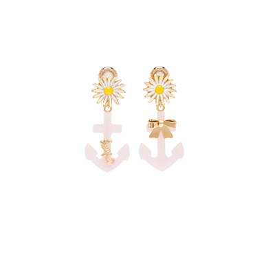 Gold-Tone, Plexiglas&Reg; And Enamel Clip Earrings, Multicolored