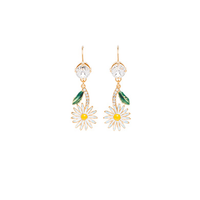 DAISY EARRINGS WITH CRYSTALS