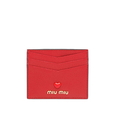 LEATHER CARD HOLDER WITH LOVE LOGO