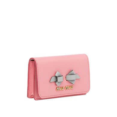 Leather business card holder miumiu leather business card holder miumiu petal pinkgranite gray colourmoves