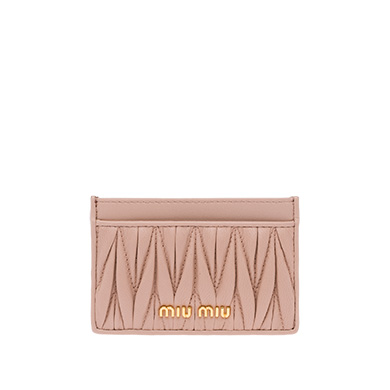 MIU MIU LEATHER CREDIT CARD HOLDER, ORCHID PINK