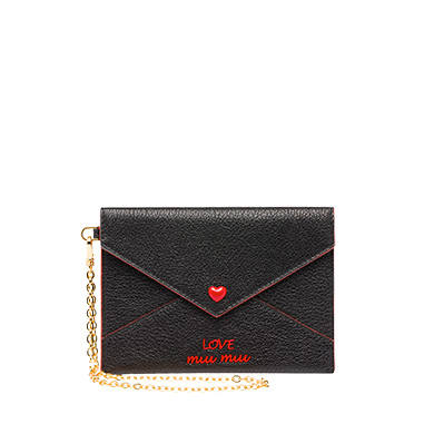 Love Embroidered Envelope Pouch in Black