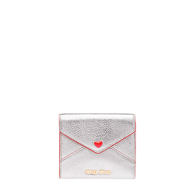 MADRAS LEATHER WALLET WITH LOVE LOGO