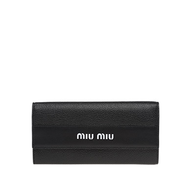 Madras Goat Leather And Leather Wallet in Black