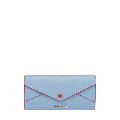 size 40 635b8 1d5ad Miu Miu マドラス レザー 財布 In ライトブルー   ModeSens