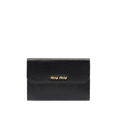 MIU MIU MULTI-COLORED MADRAS LEATHER WALLET, FIRE ENGINE RED