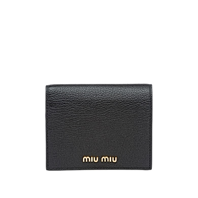 c27ae3d27bad MIU MIU Single Color Madras Leather Wallet