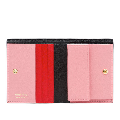 4fc6e2f2322e MIU MIU SINGLE COLOR MADRAS LEATHER WALLET