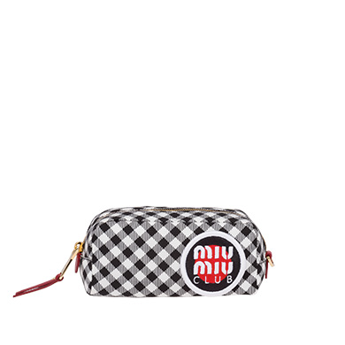 Vichy Check Faille Pouch With Patch, Black/White