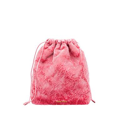 Miu Miu Crushed Velvet Pouch In Pink  7bd08b4cd